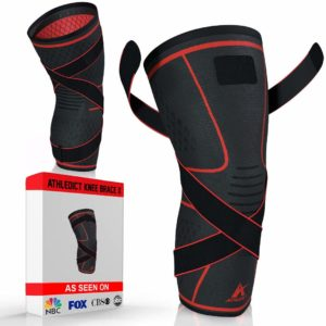 Knee Brace Compression Sleeve with Strap for Best Support & Pain Relief by Athledict