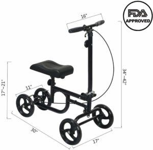 ELENKER Economy Knee Walker Steerable Medical Scooter Crutch Alternative