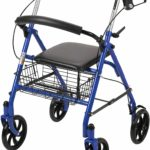 Drive Medical Four Wheel Walker Rollator with Fold-up Removable Back Support