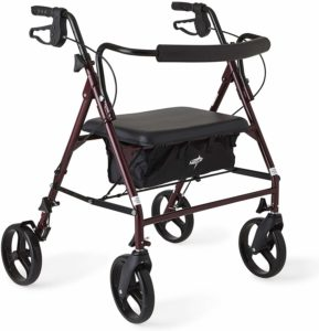 Medline Heavy Duty Rollator Walker with Seat, Bariatric Rolling Walker