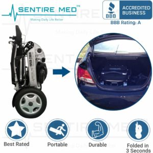 Sentire Med Forza FCX Deluxe Fold Foldable Power Compact Mobility Aid Wheel Chair