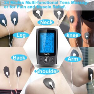Belifu Dual Channel TENS EMS Unit 24 Modes Muscle Stimulator for Pain Relief Therapy